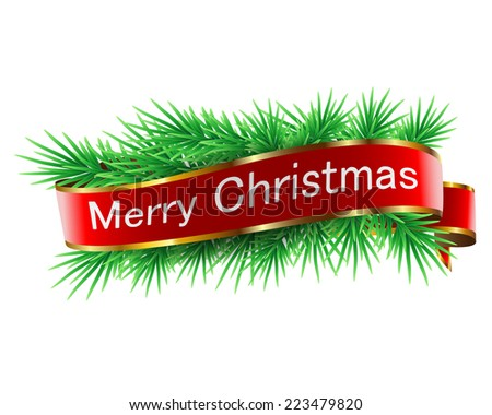 Christmas decorations with ribbon on white background. Vector. Illustration. - stock vector