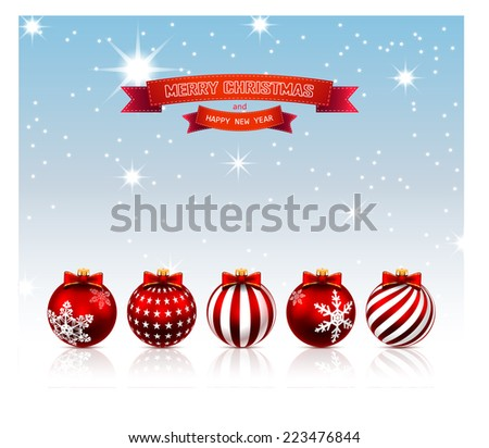 Christmas. Decorative background with balls. Illustration. Vector. - stock vector