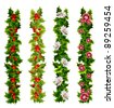 Christmas decorative belts made of holly and flowers - stock vector