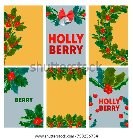 Christmas decorative berry leaves holly branches cards with red berries evergreen winter flower floral plant vector illustration