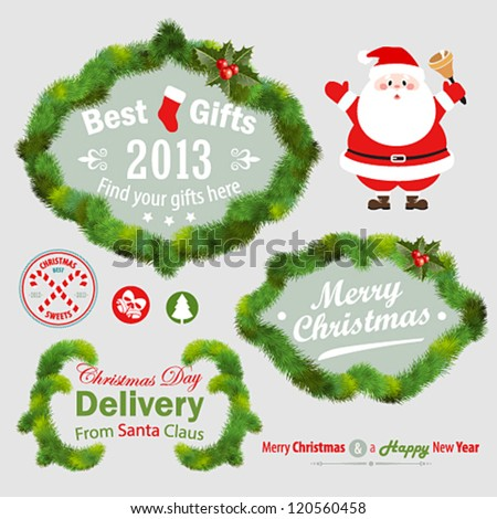 Christmas decorative elements - fir tree. Vector illustration. - stock vector