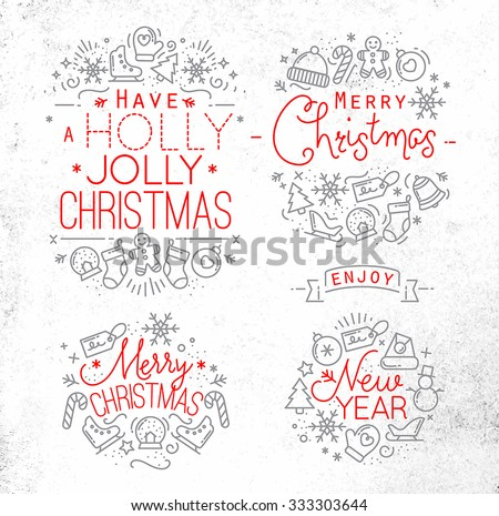 Christmas decorative elements for winter holidays in flat style, drawing with grey and red lines on dirty paper - stock vector