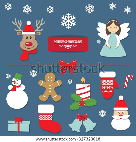 Christmas decorative elements set. Cute New Year Stickers. Angel, Deer, Santa Claus, Gingerbread Man, Snowman, Mitten, Bells. - stock vector