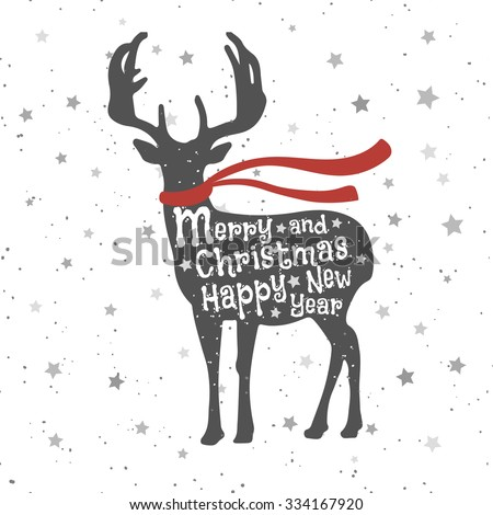 Christmas deer - stock vector