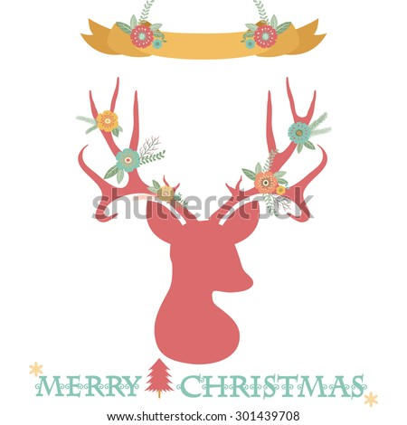 Christmas Deer Antlers with Banner set