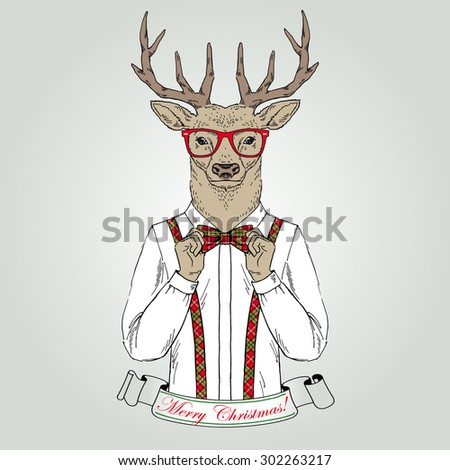 Christmas deer character, animal illustration, Merry Christmas and Happy New Year poster, hand drawn graphic, seasonal greeting card, furry art greeting character