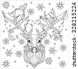 Christmas deer head doodle with lighting bulb. - stock vector