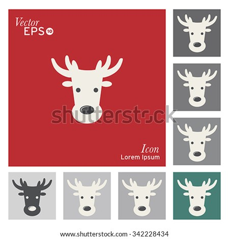Christmas deer icon - vector, illustration. - stock vector
