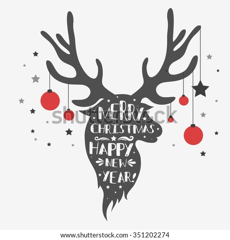Christmas deer. Merry Christmas and Happy New year/ quote