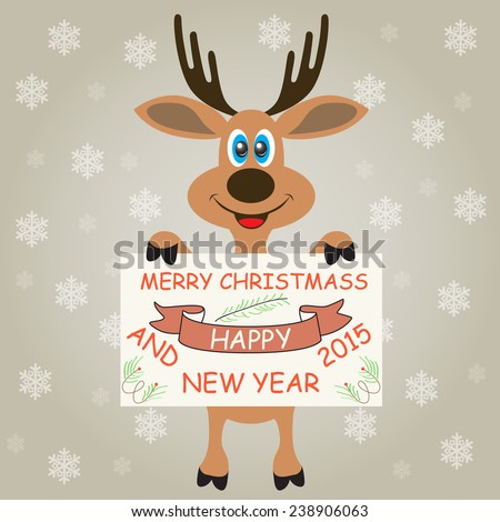 Christmas deer on a gray background with snowflakes.