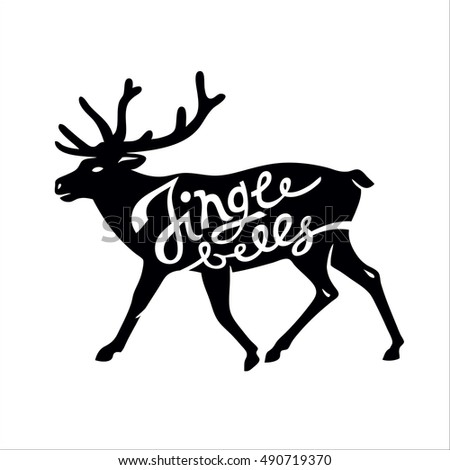 Christmas Deer Silhouette Hand Drawn Text Stock Vector 490719331 ...