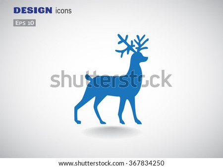 Christmas deer symbol, web icon. vector design - stock vector