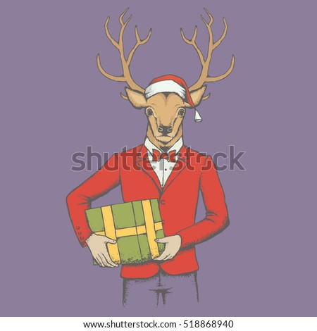 Christmas Deer vector illustration. Reindeer in human suit with gift