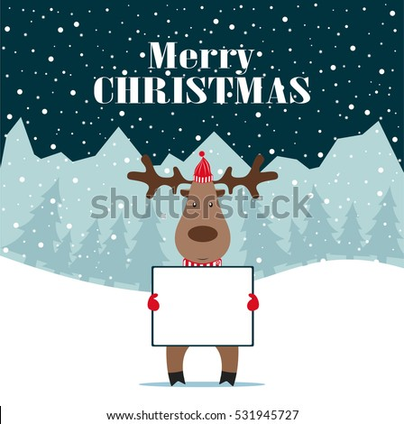 Christmas deer with banner isolated, happy winter xmas holiday animal greeting card.