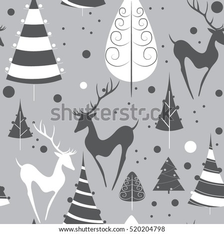 Christmas deers. seamless pattern