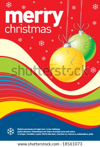Christmas design can be used as a poster or an invitation card. Just place your own texts and titles. - stock vector
