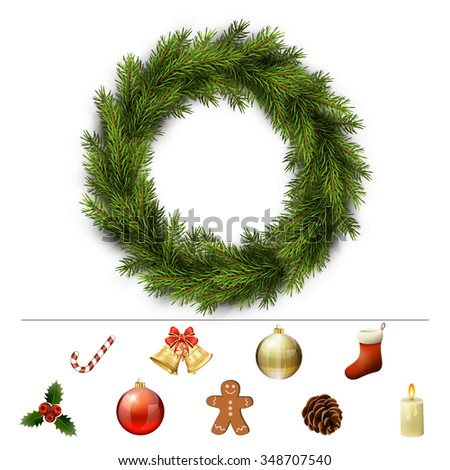 Christmas design elements for custom wreath decoration. Xmas template. Vector eps10 illustration - stock vector