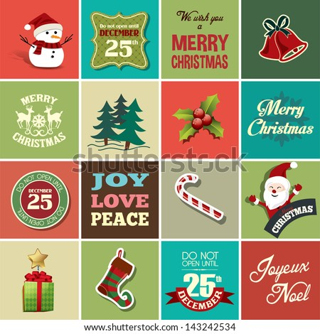 Christmas design elements for greeting card, gift tags and stickers - stock vector