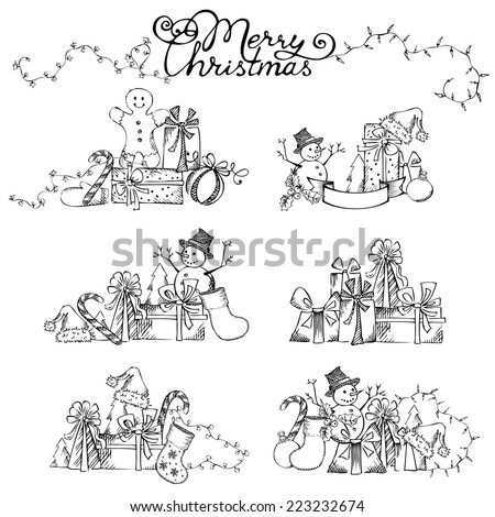 Christmas design elements. Hand-drawn pencil Christmas objects for your design isolated on white background. - stock vector