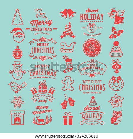 Christmas design elements, logos, badges, labels, icons, decoration and objects. - stock vector