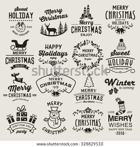 Christmas design elements, logos, badges, labels, icons, decoration and objects set. - stock vector