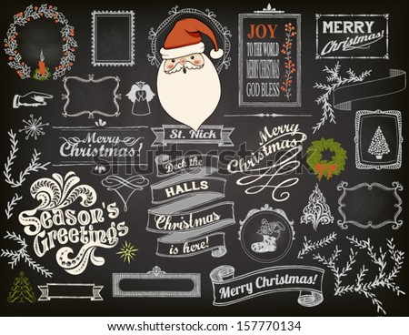 Christmas Design Elements on Chalkboard - Doodle symbols, icons, greetings and frames on blackboard, including Santa Clause - stock vector