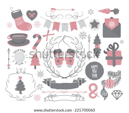 Christmas design elements set, bunting, snowball, tea, sock, carrot, mistletoe, tree, snowflake, candy, cane, bow, diamond, star, divider, heart, laurel, wreath, letter, card, ampersand, mittens  - stock vector