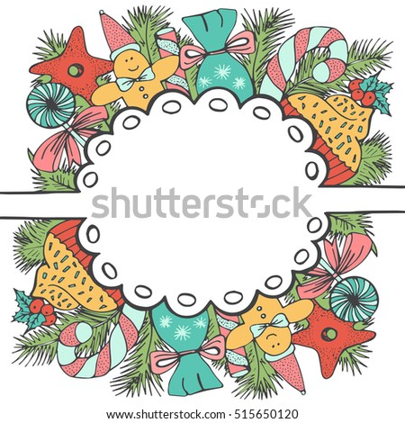 Christmas design for greeting card template. Christmas wreath. Sweet Christmas elements with beautiful tasty ornament. Hand drawn doodle frame made of candy, cake, sweets and tree branches.
