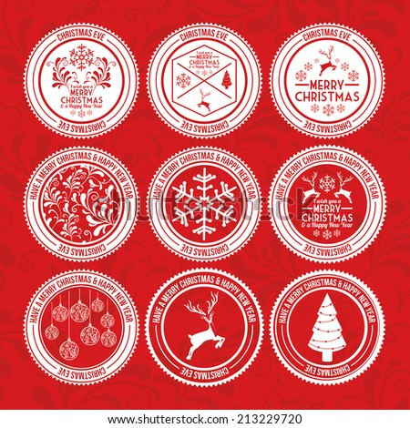 Christmas design over red background,vector illustration