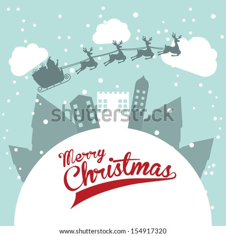 christmas design over sky background vector illustration  - stock vector