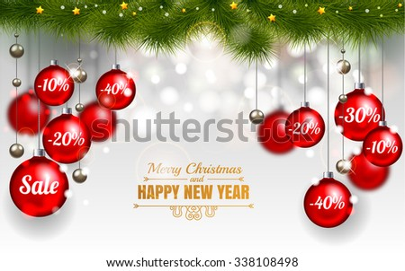 Christmas Design Template of Holiday Sale, Red christmas balls  on white background with snowflake stars and christmas tree, Sale 10%, 20%, 30%, 40%. Merry Christmas and happy new year - stock vector