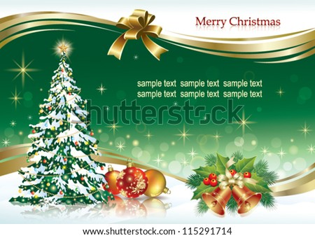 christmas design with balls, firtree and holiday ring 2013 - stock vector