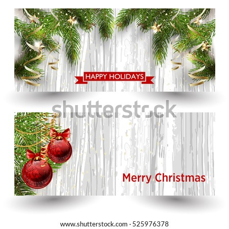 Christmas design with fir tree on wooden background. Web banner template. Vector Illustration.