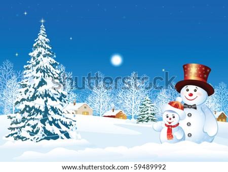 christmas design with snowman - stock vector