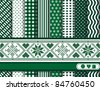 Christmas digital scrapbooking paper swatches in green and white with Scandinavian style ribbon. EPS10 vector format. - stock vector