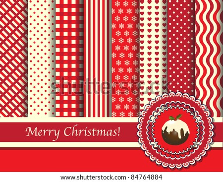 Christmas digital scrapbooking paper swatches in retro tones with ribbon and pudding. EPS10 vector format. - stock vector