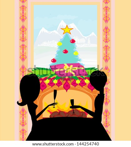 Christmas dinner. - stock vector