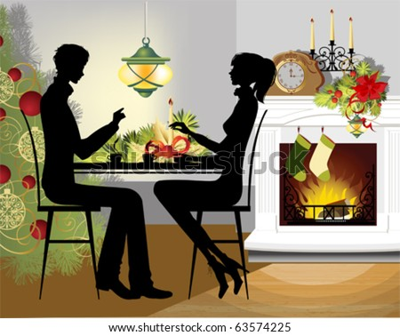 Christmas dinner. All elements and textures are individual objects. Vector illustration scale to any size. - stock vector