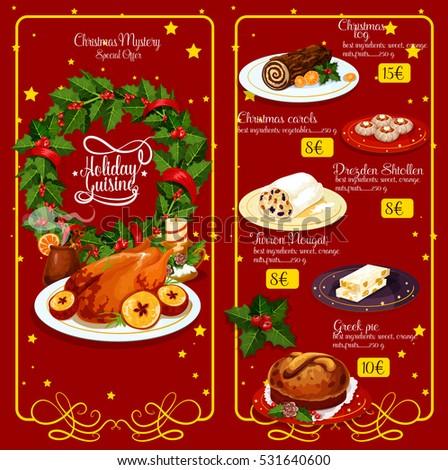 Christmas dinner restaurant menu xmas turkey vectores en stock christmas dinner restaurant menu xmas turkey wine chocolate cake greek sweet bread forumfinder Gallery