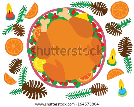 Christmas Dinner Turkey with Berries and Fruit - stock vector