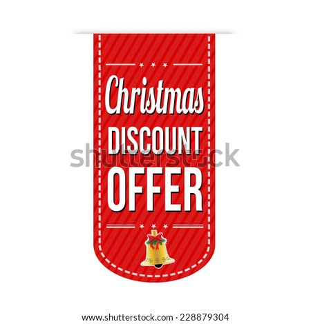 Christmas discount offer banner design over a white background, vector illustration