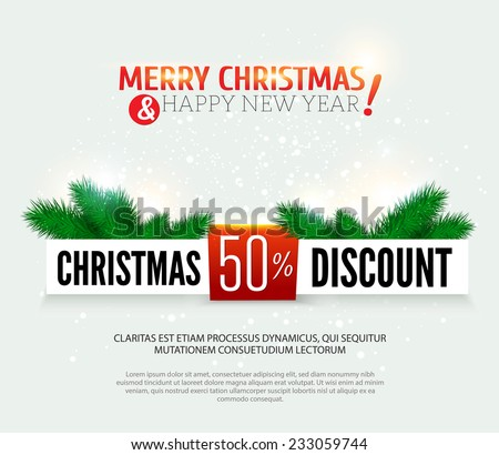 Christmas discount, sale banner. Vector illustration. - stock vector