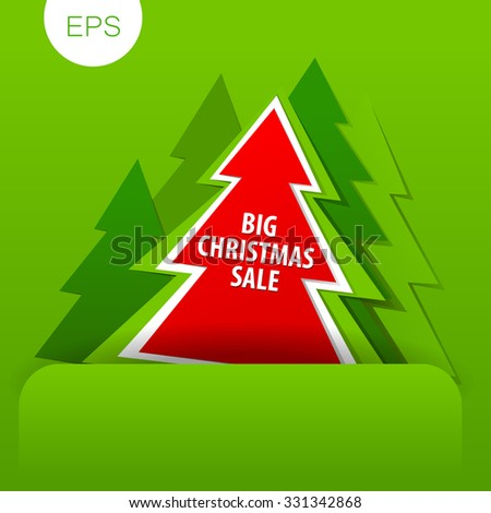 Christmas discount, Sale banner. Vector template.