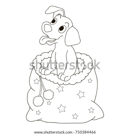 christmas dog coloring page the puppy is smiling and sitting in a bag of santa