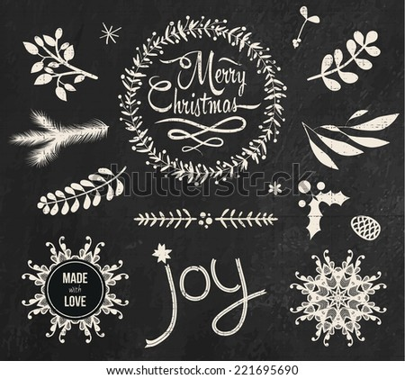 Christmas doodle chalkboard graphic set: Merry Christmas and Joy. Collection of chalk design elements: snowflakes, branches, wreath.
