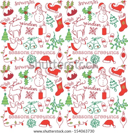Christmas doodle icons seamless background