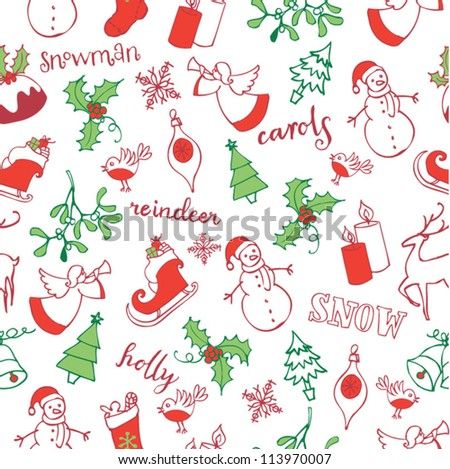 Christmas doodle icons seamless pattern