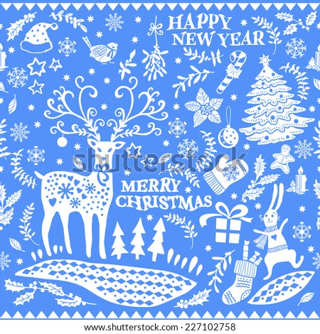 Christmas doodle pattern.  Hand drawing. Christmas decorations. Seamless pattern for fabric, paper and other printing and web projects. - stock vector