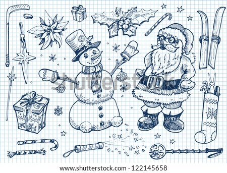 Christmas doodle set - stock vector
