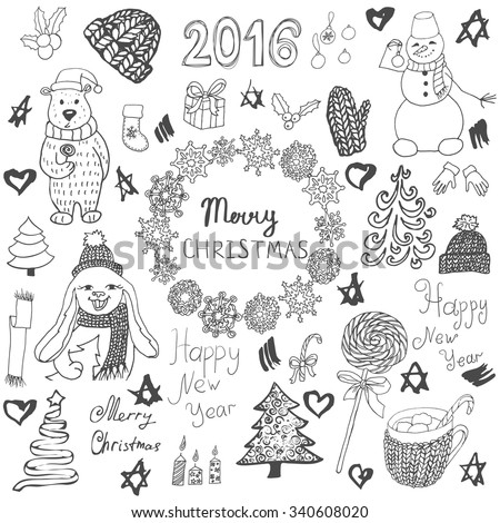 Christmas Doodle Set. Hand drawn new year elements. Vector illustration isolated on white background.
